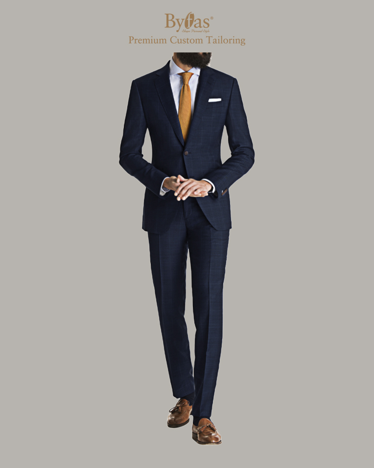 Blue Windowpane Shadow Check Suit