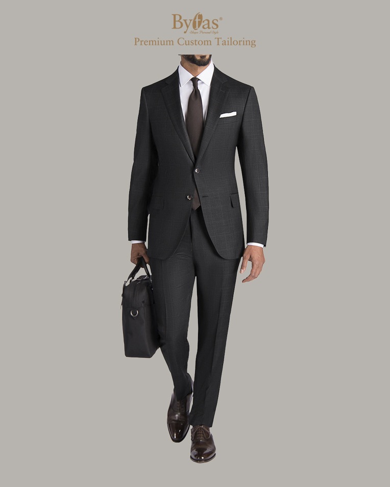 Charcoal Windowpane Shadow Check Suit