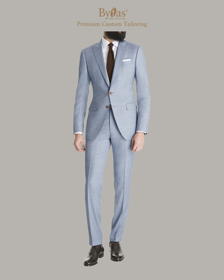 Light Blue Gray Sharkskin Suit