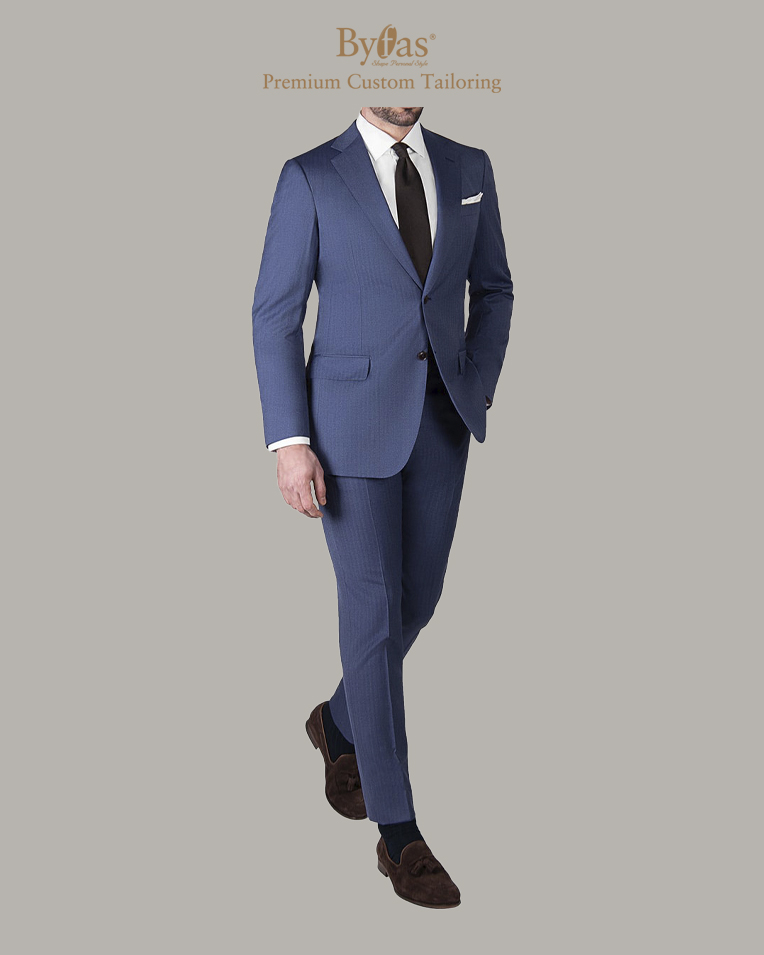 Blue Herringbone Wool_Silk Suit