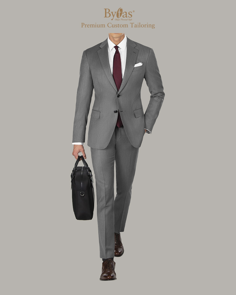 Cool Gray Suit in Cavalry Twill