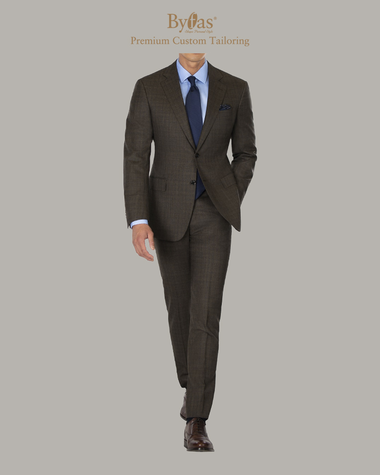 Charcoal Brown Check Suit