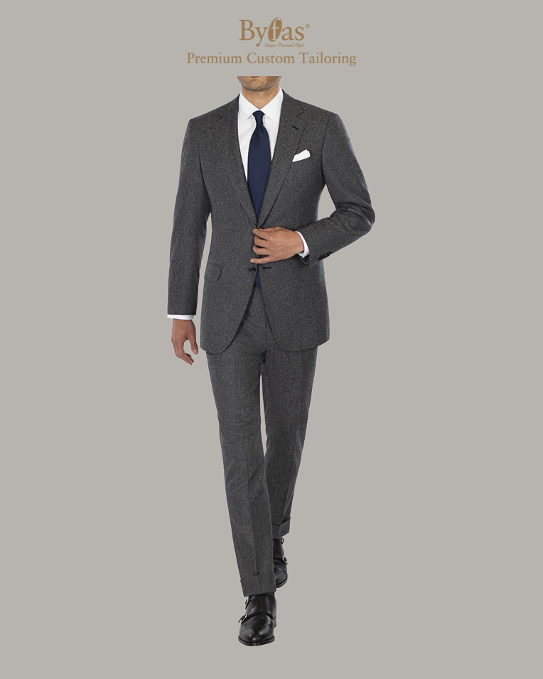 Gray Houndstooth Flannel Suit