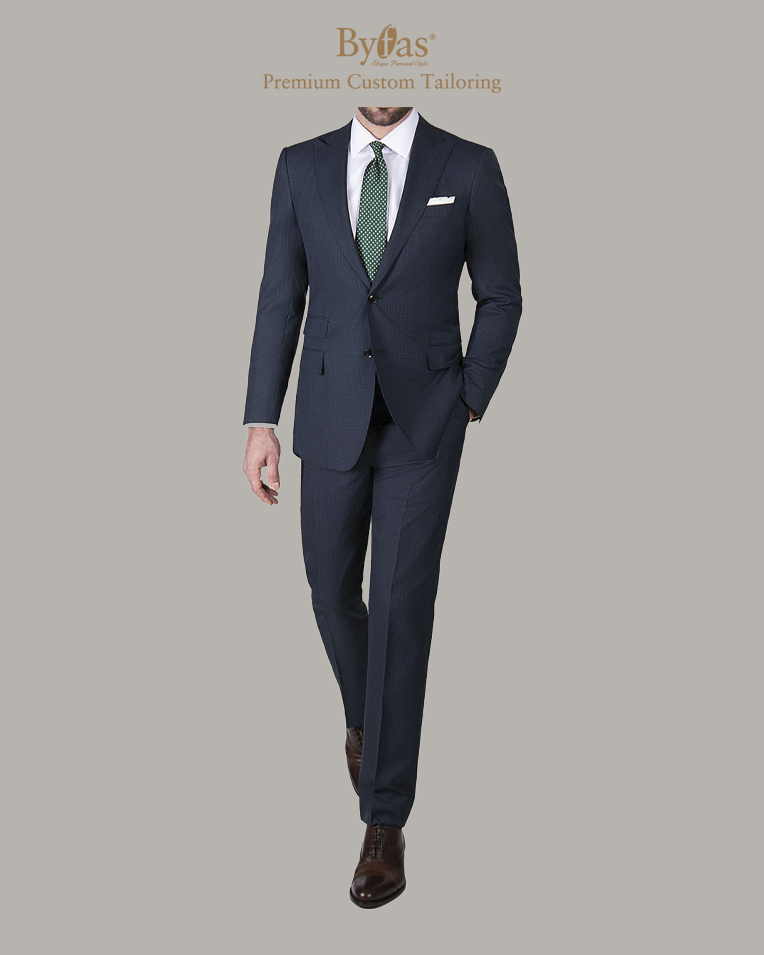 Navy Micro Check WoolSilk Suit