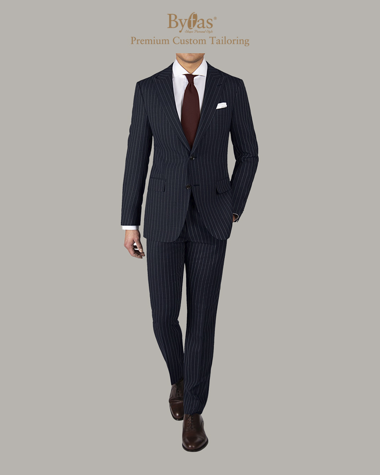 The Traveler Suit in Navy Pinstripe