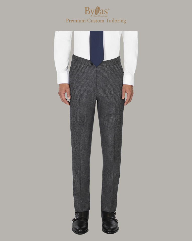 Gray Houndstooth Flannel Pants