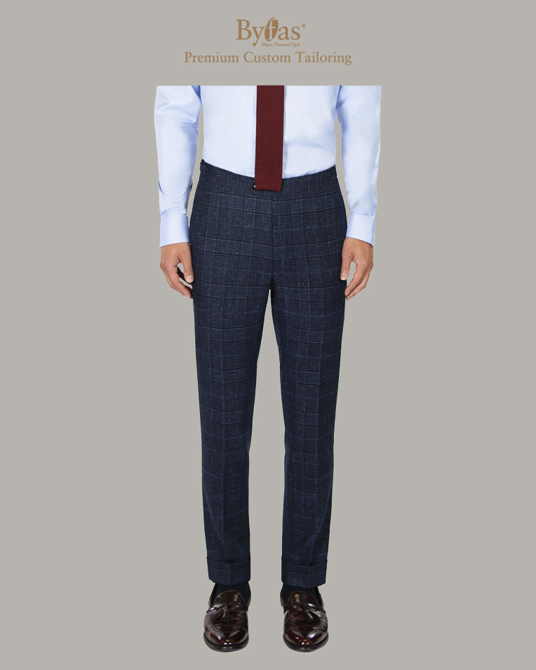 Blue Wool - Silk Tweed Pants