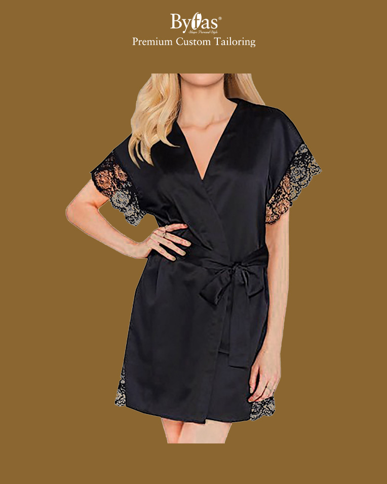 Black Short Sleeve Satin Kimono Robe Lace Trim Bride Robes Bathrobe Sleepwear