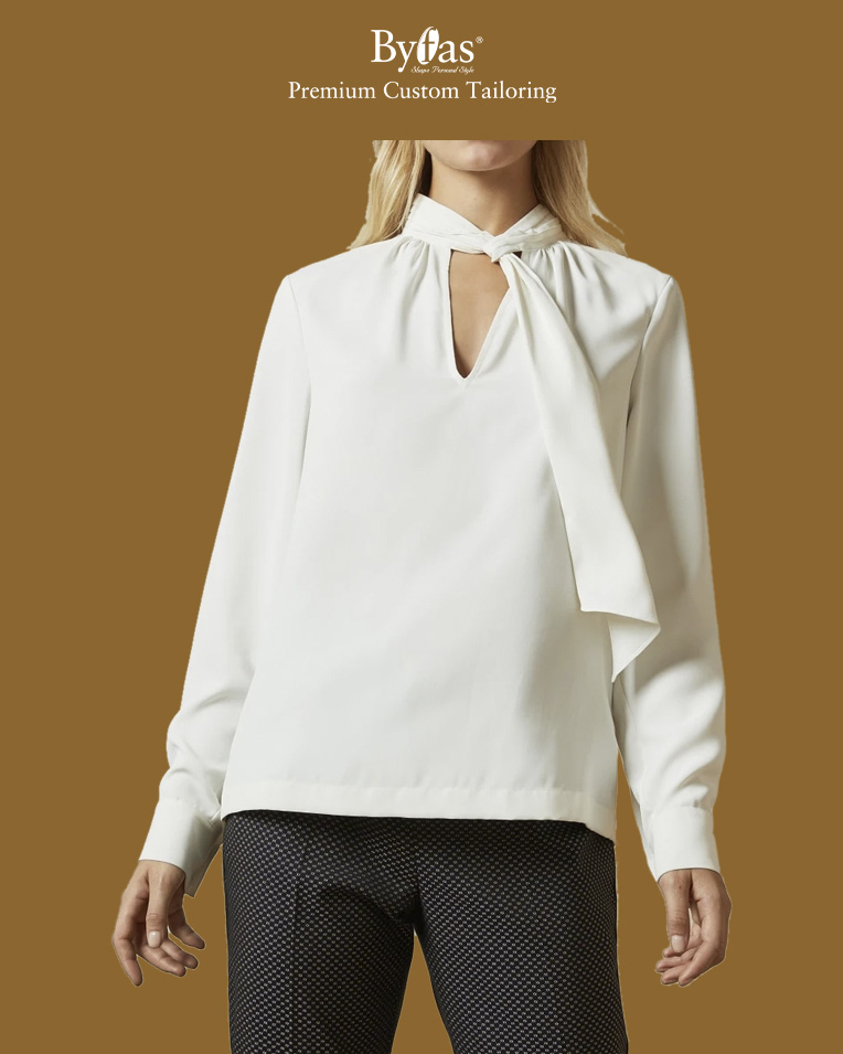 Gathered tie neck blouse