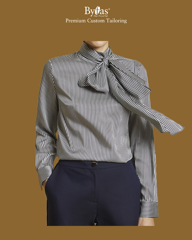 Tie detail striped blouse