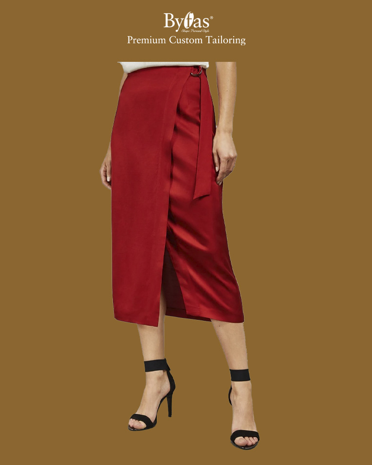 Split hem midi wrap skirt