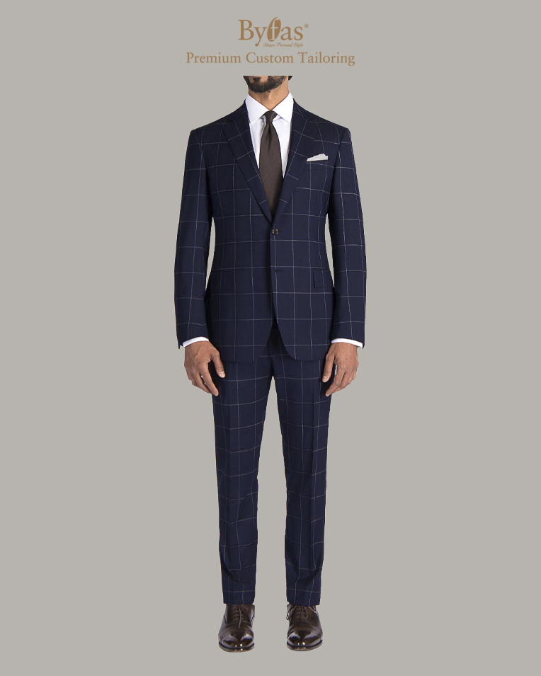 Navy Windowpane Suit